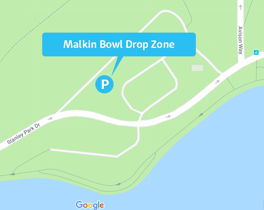 parking map for Malkin Bowl