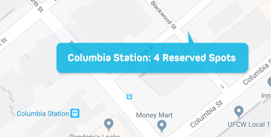 Parkspot map Columbia station